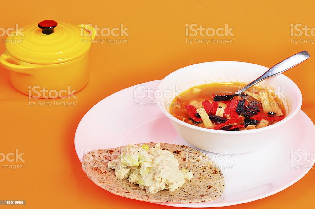 Tortilla Wrap and Soup royalty-free stock photo
