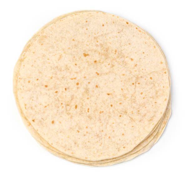 tortilla wrap isolated - tortilla stock photos and pictures
