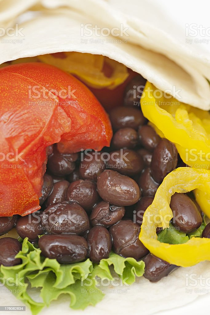 tortilla wrap vegetable and bean sandwich stock photo