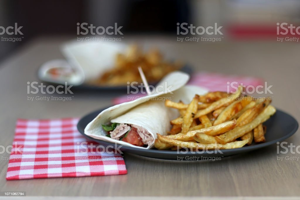 Tortilla Wraps and Fries stock photo