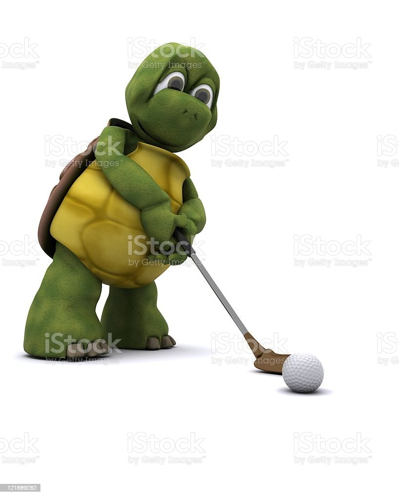 Tortoise Playing golf royalty-free stock photo