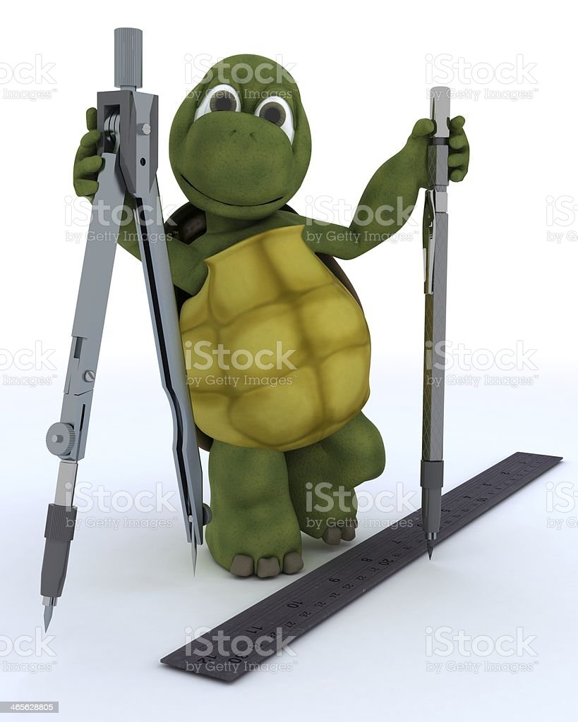 tortoise with drawing aids royalty-free stock photo