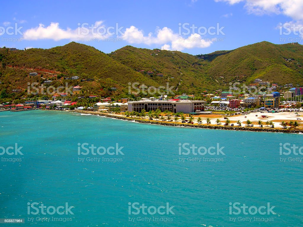 Tortola harbour in the West Indies stock photo
