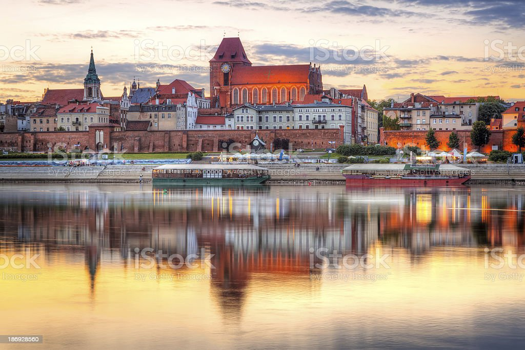 Torun old town at sunset stock photo