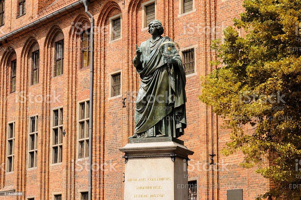 Torun town hall Copernicus statue stock photo