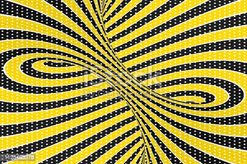 1061380420 istock photo Torus optical 3D illusion raster illustration. Twisting loops and spots pattern. Infinity effect hypnotic image. 1125463278