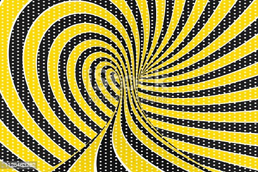 1061380420 istock photo Torus optical 3D illusion raster illustration. Twisting loops and spots pattern. Infinity effect hypnotic image. 1125463282