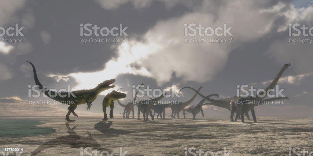 Torvosaurus and Diplodocus Dinosaurs stock photo