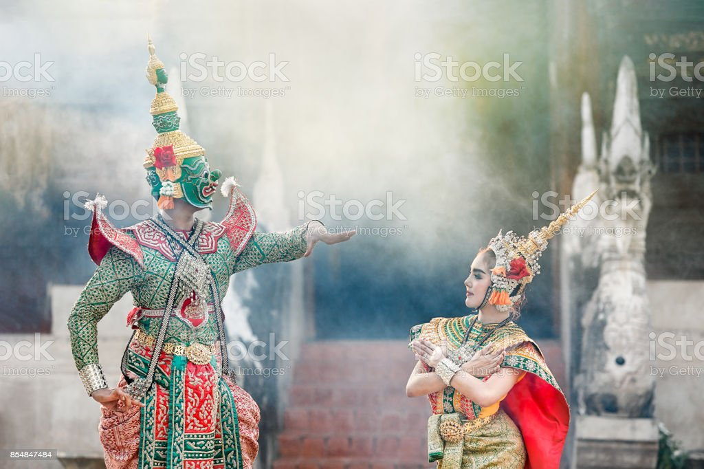 Tosakan (Ravana) and Mandodari , Thai Ramayana Epic stock photo