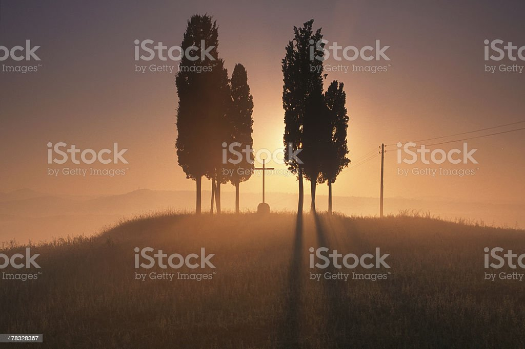 Toscana sunset view stock photo