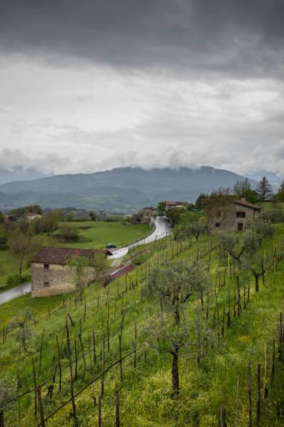 Toscany landscape with dark skies stock photo