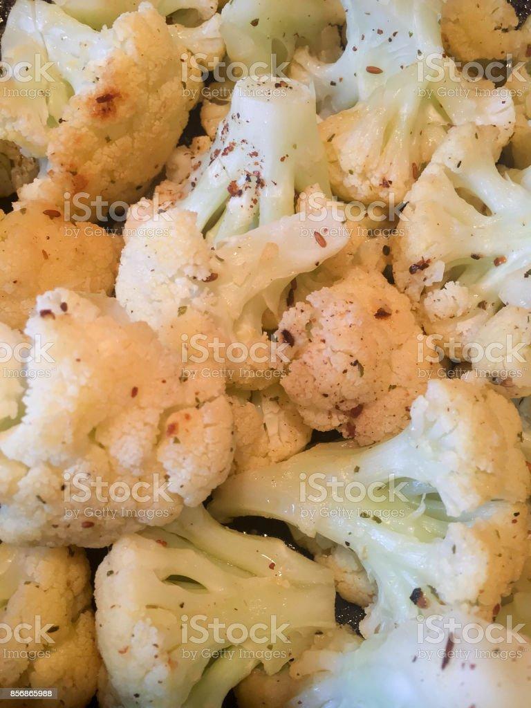 Tossed cauliflower macro image stock photo