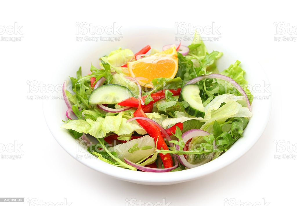 Tossed iceberg lettuce salad stock photo