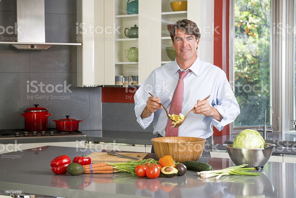 Tossing A Salad royalty-free stock photo