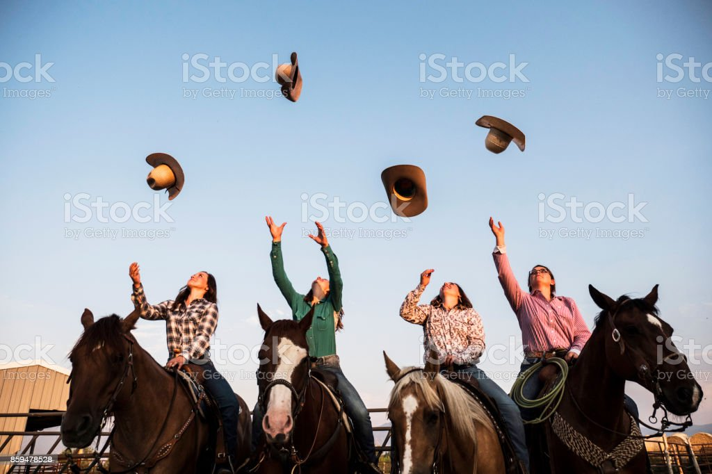 Tossing Cowbou Hat stock photo