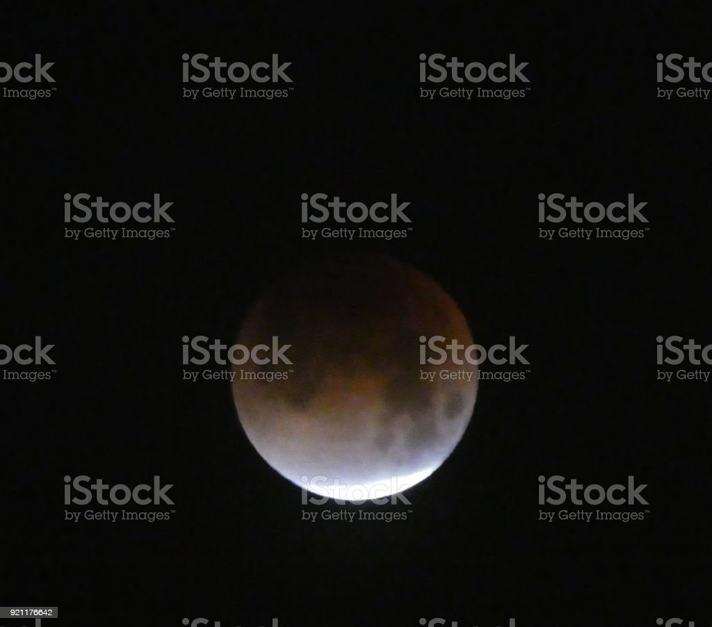Total eclipse in process of the Super Blue Moon over Zion National...