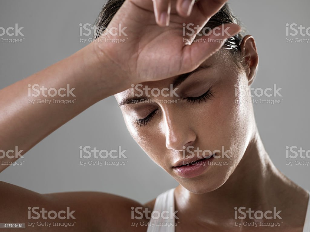 Total exhaustion, the sign of a great workout stock photo