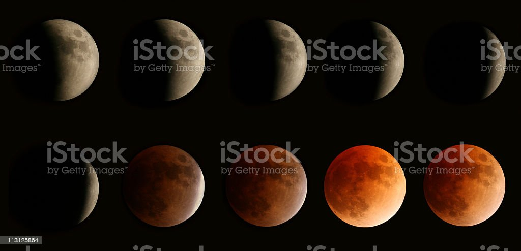 Total Lunar Eclipse 2008 Composite stock photo