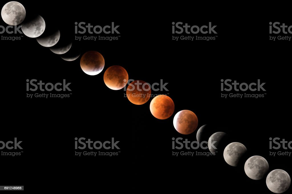 Total lunar eclipse sequence stock photo