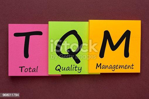 Total Quality Management (TQM) written on color notes. Acronym business concept.