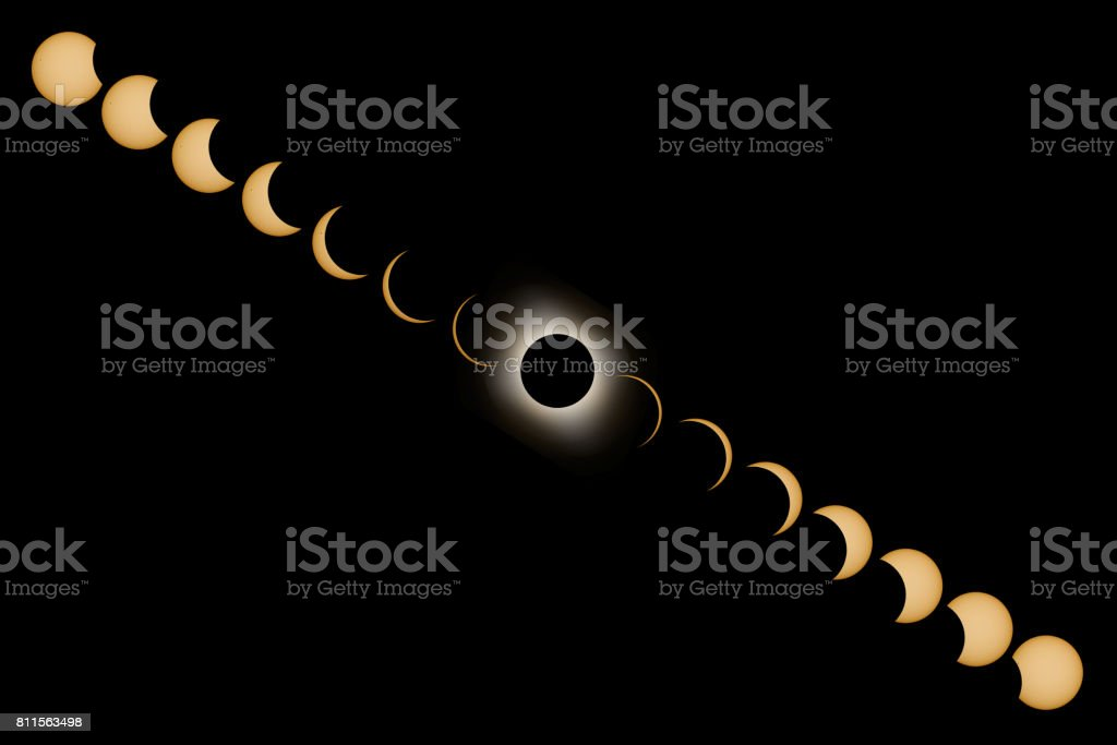 Total Solar Eclipse phases. Composite Solar Eclipse. stock photo