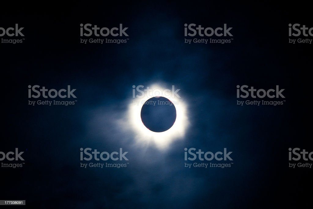 Total solar eclipse with visible corona stock photo