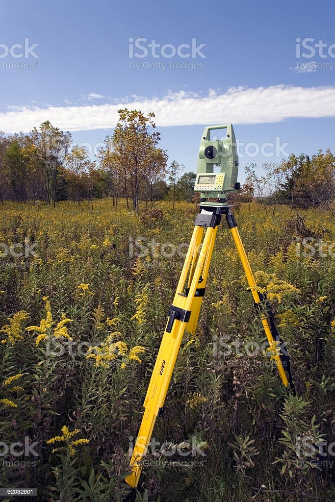 Total Station set in the field royalty-free stock photo