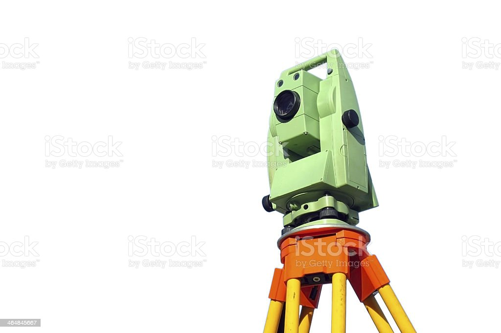 Total station, surveying stock photo