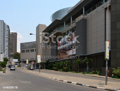 Luanda, Angola: Total Tower, facade on Gamal Abdel Nasser, corner with Ambiente Square - French multinational oil and gas company, one of the seven Supermajor oil companies - Torre Total, Praça do Ambiente