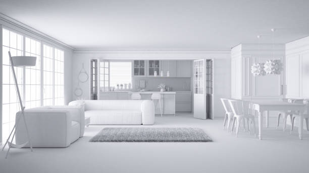 Total white project of minimalist white living room and kitchen, big window and carpet fur, scandinavian classic interior design concept idea stock photo