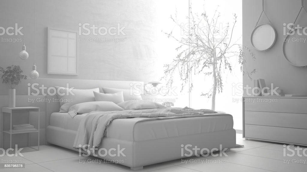 Total Du Projet Blanc De Chambre à Coucher Moderne, Minimaliste Interior  Design Photo Libre De