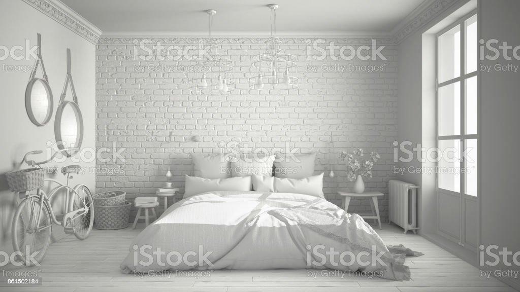 Total Du Projet Blanc De Chambre Moderne Avec Un Lit Double Confortable,  Mur De Briques
