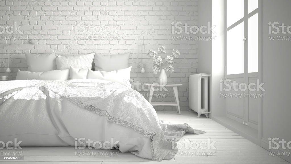 Exceptionnel Total Du Projet Blanc Moderne Chambre Avec Un Lit Double Confortable, Mur  De Briques,