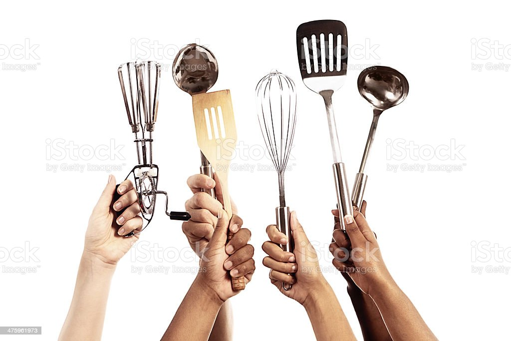 color kitchen utensils totally equipped for masterchef six hands holding up kitchen