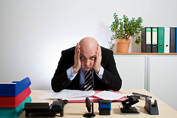 totally stressed manager stock photo