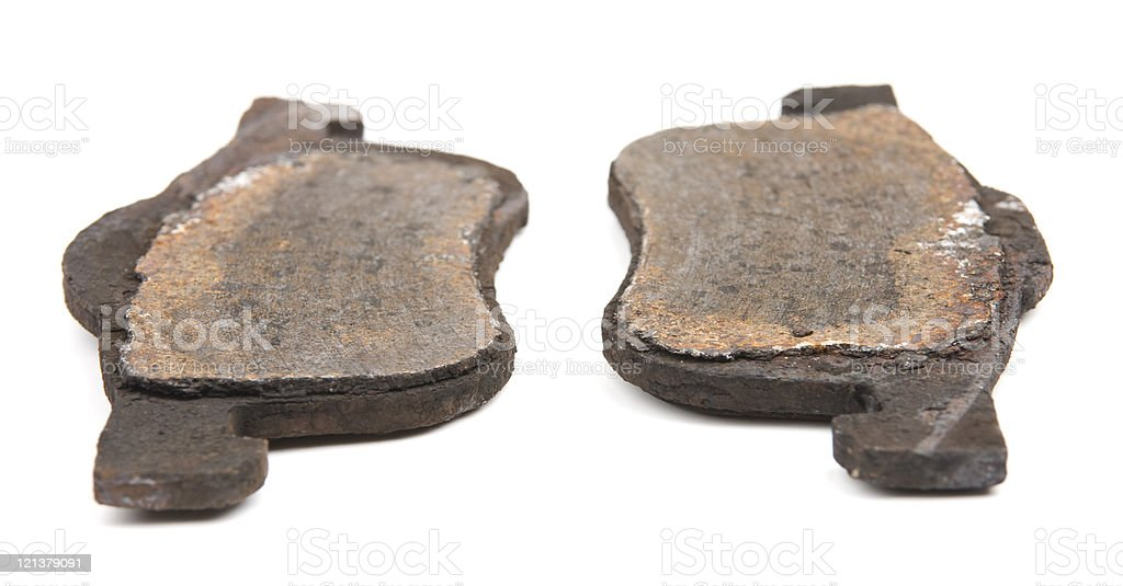 Totally worn out brake pads stock photo