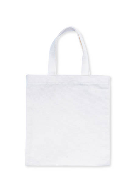 tote bag fabric cloth shopping sack mockup isolated on white background (clipping path) - tote bag imagens e fotografias de stock