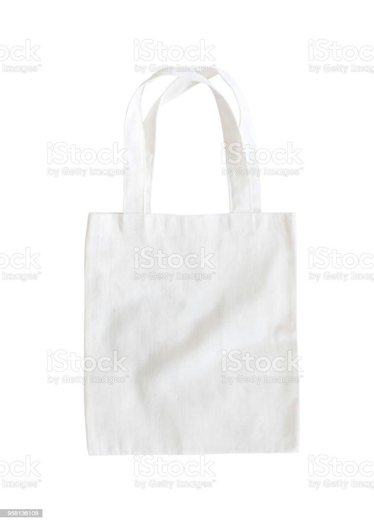 Bolso de mano imitan para arriba lona tela paño saco sobre fondo blanco aislada con trazado de recorte de compras - foto de stock