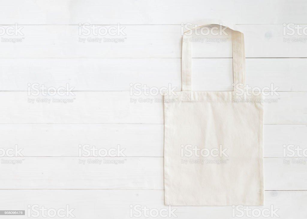 Mockup Leinwand Stoff Tuch Sack Auf Weissem Holz Shopping Tasche