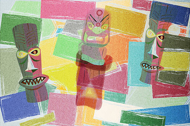 Totem Colorful Cubism Background stock photo