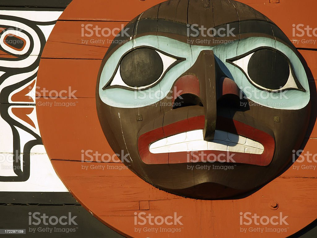 Totem face, Vancouver stock photo
