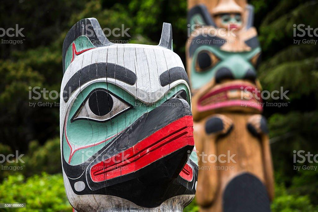 Totem Guard at Saxman Village Near Ketchikan stock photo