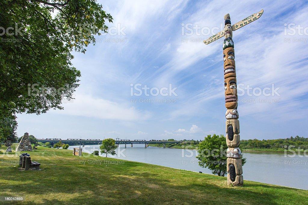Totem Pole along River stock photo