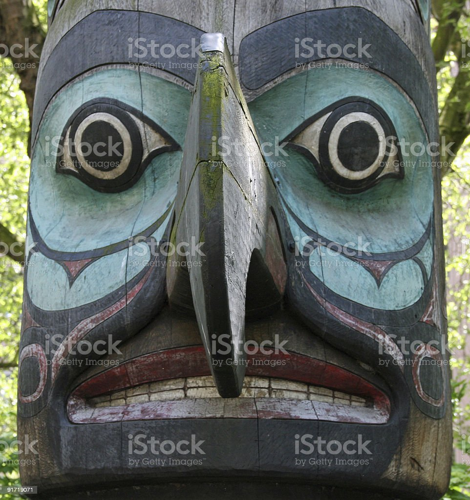 Totem pole close up royalty-free stock photo