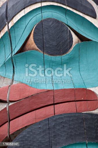 Detailed close-up of totem pole.
