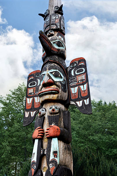 Totem Pole in Alaska colorful totem pole located in Ketchikan Alaska ketchikan stock pictures, royalty-free photos & images
