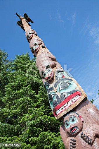 Beautifully crafted totem pole in Ketchikan, Alaska.