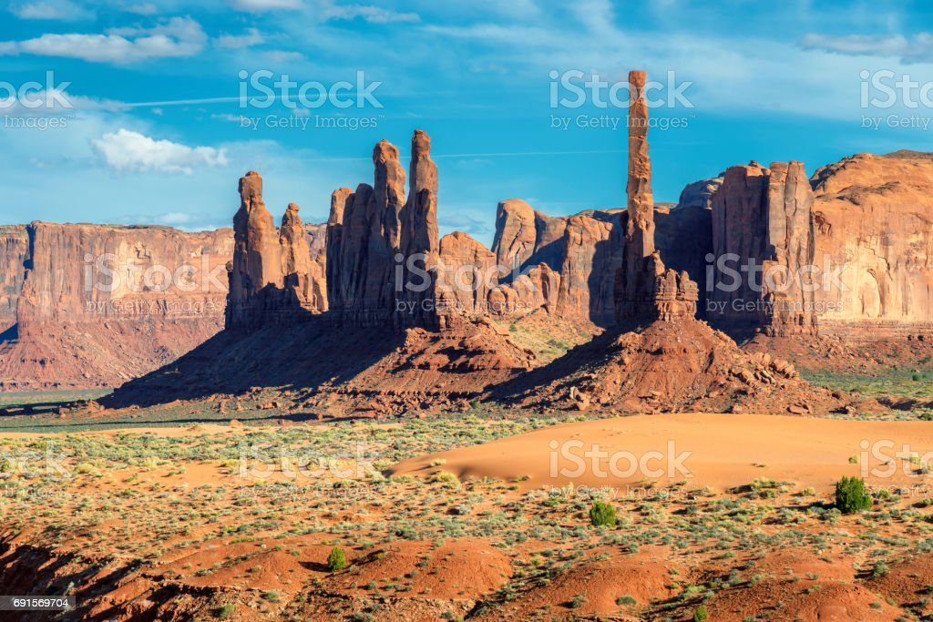 Totem Pole in Monument Valley, Utah, USA. stock photo