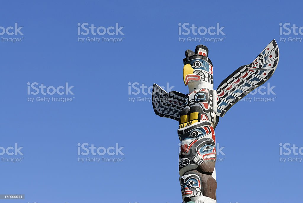 Totem Pole in Vancouver, BC, Canada stock photo