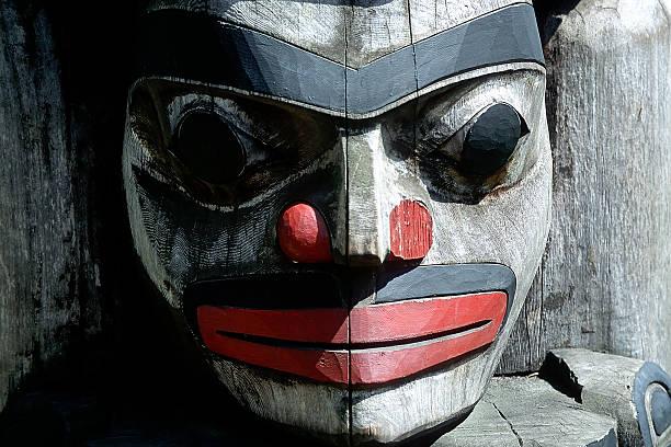 Totem Pole in Victoria, BC stock photo